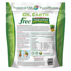 Free Vegetarian Potting Soil Back Information