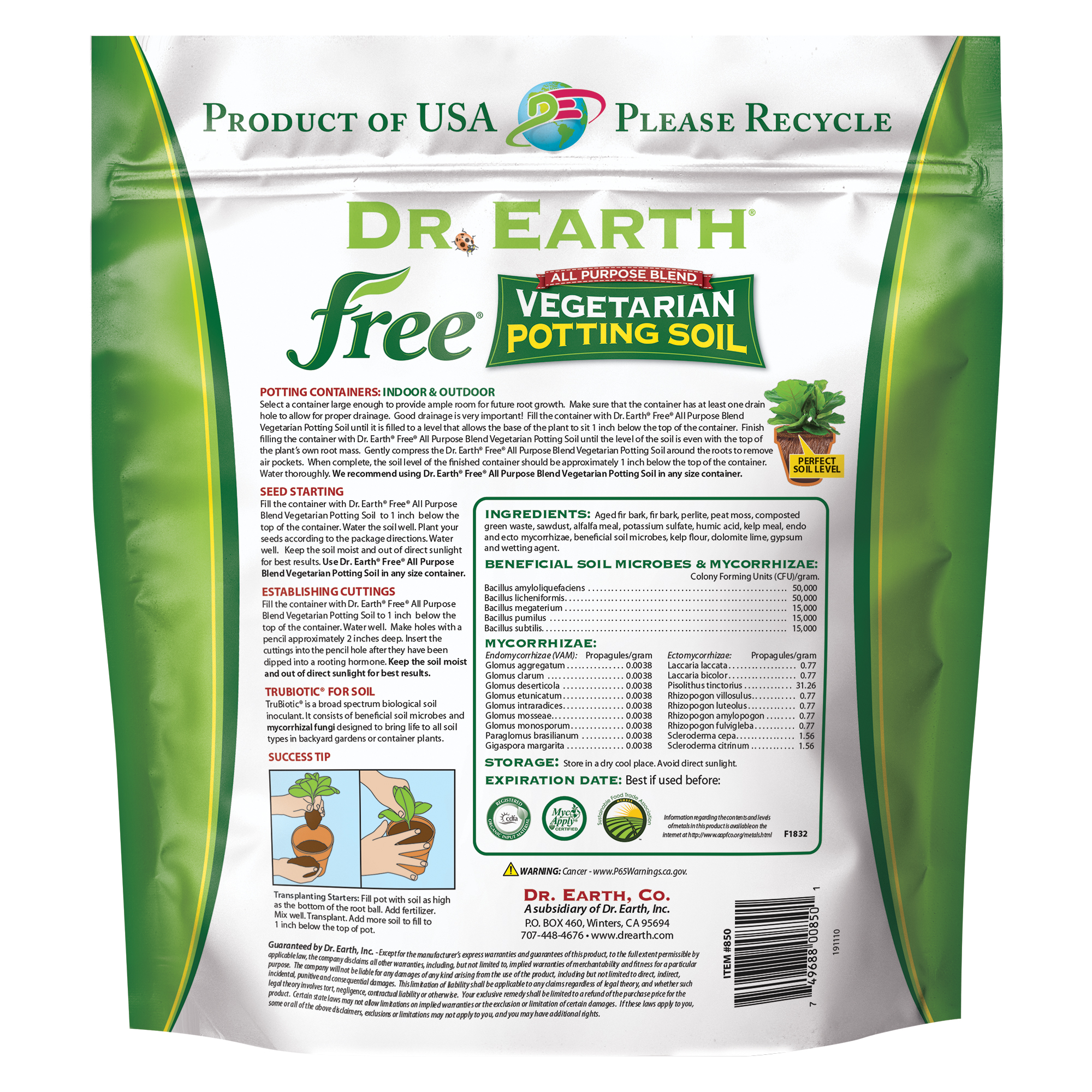 Free Vegetarian Potting Soil Back Information