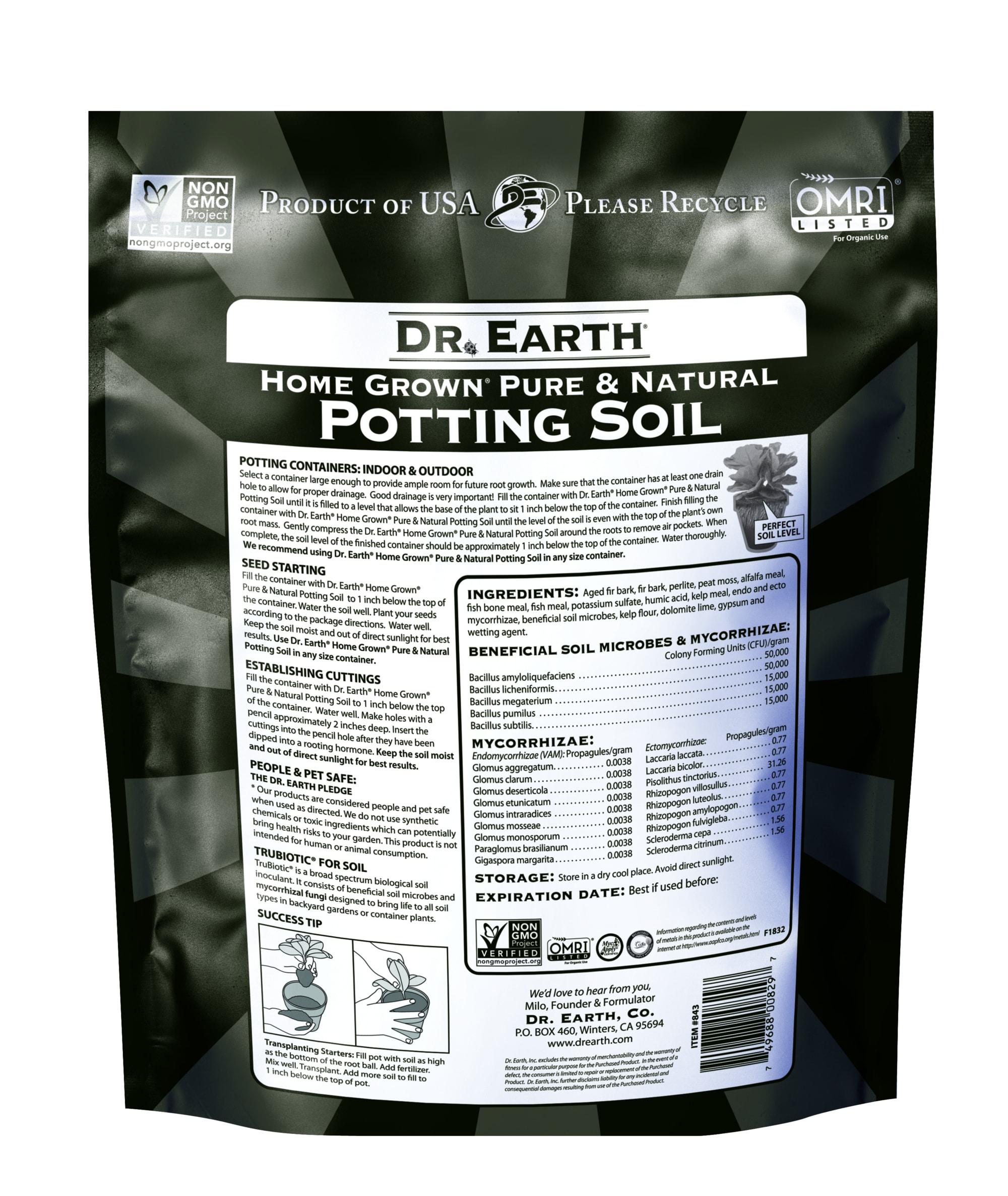 Home Grown Potting Soil Back Information