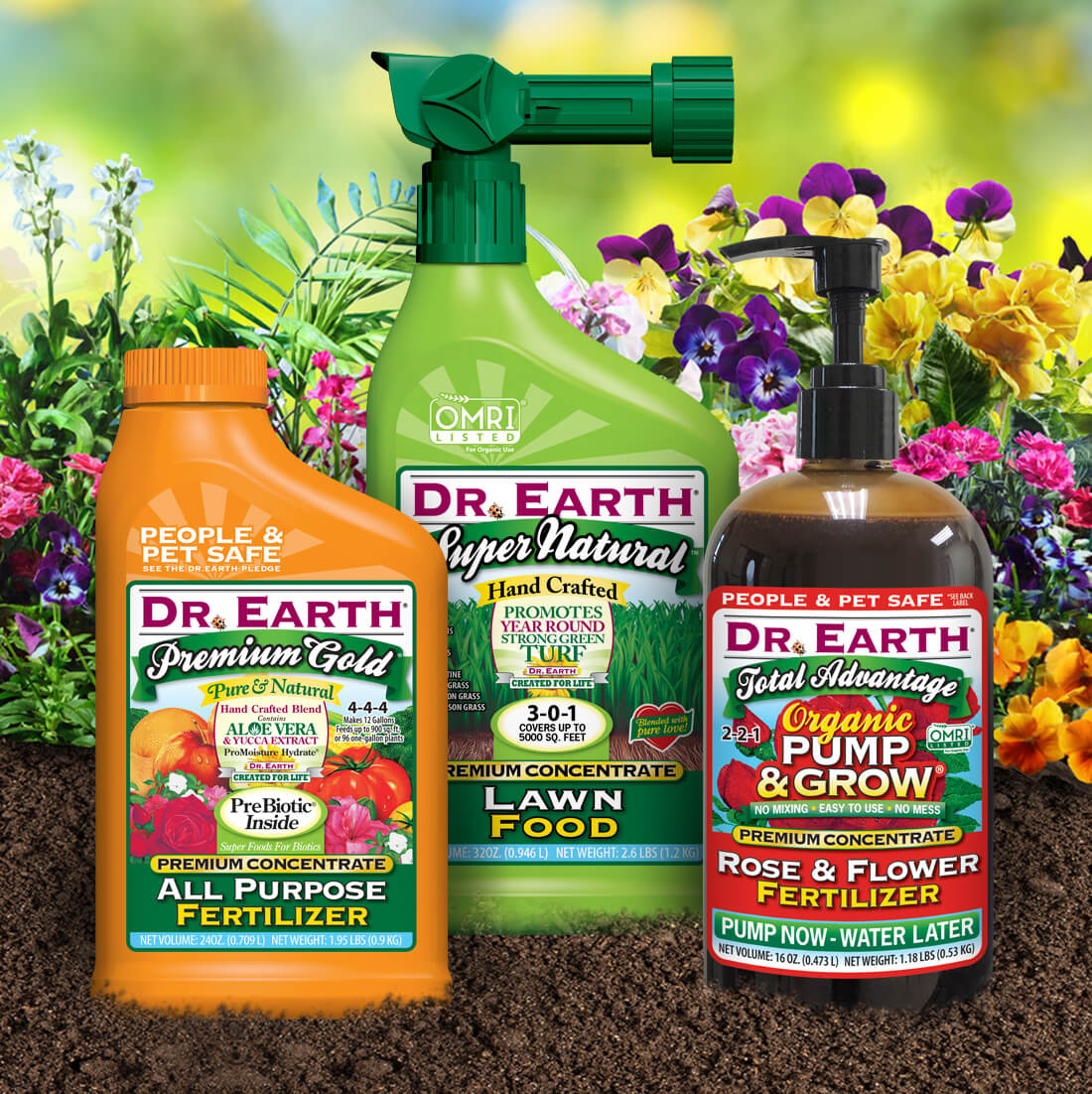 Various liquid fertilizer products