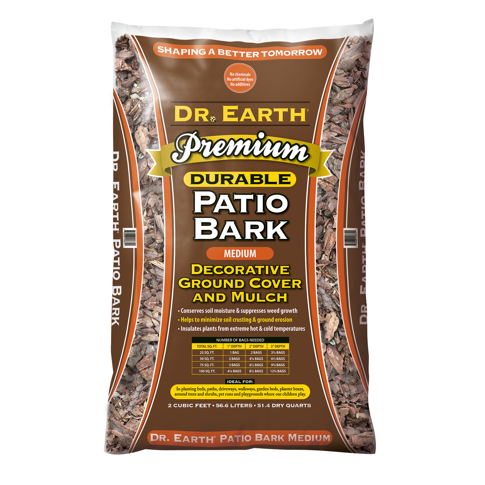 DR. EARTH PREMIUM MEDIUM PATIO BARK  DECORATIVE GROUND COVER AND MULCH