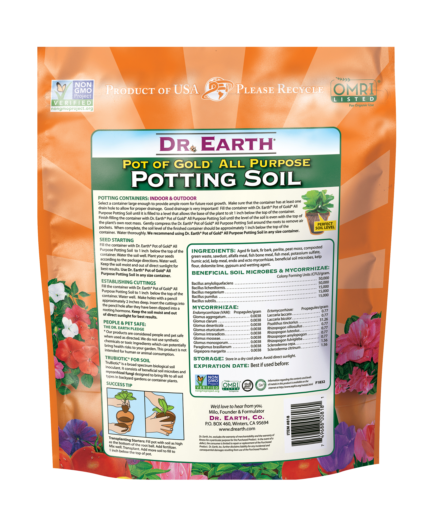Life All Purpose Potting Soil Back Information