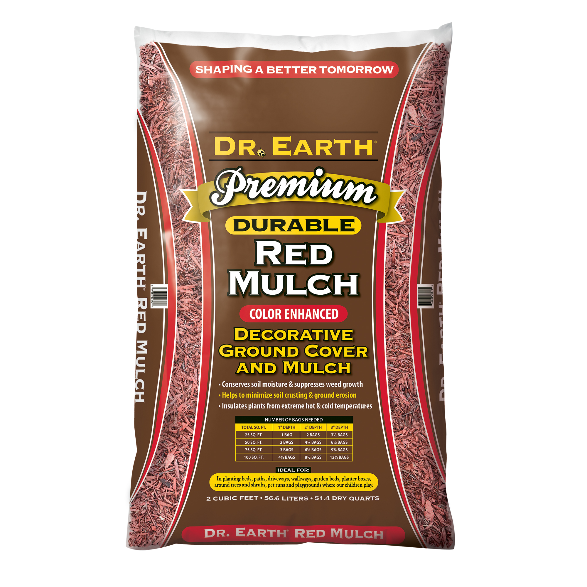 DR. EARTH PREMIUM  COLOR ENHANCED  RED MULCH DECORATIVE GROUND COVER
