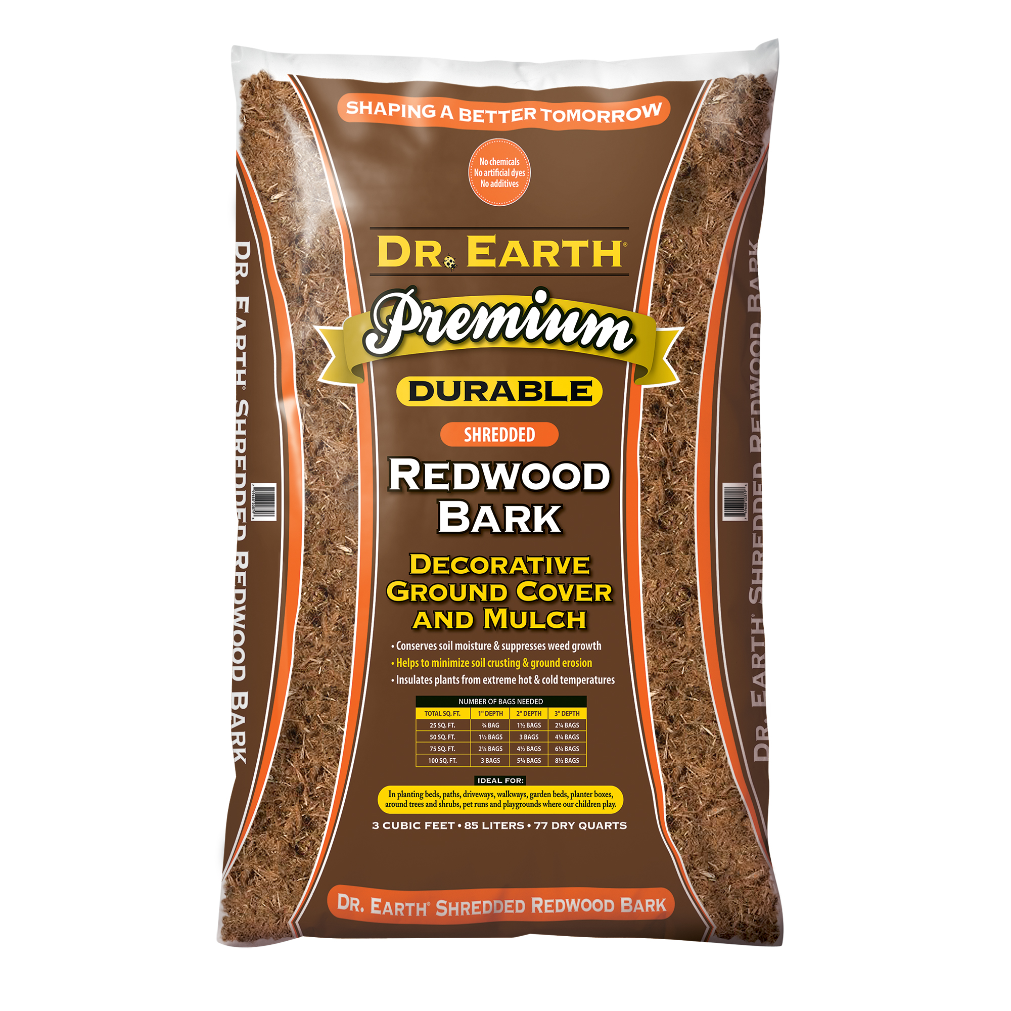 DR. EARTH PREMIUM SHREDDED REDWOOD BARK  DECORATIVE GROUND COVER AND MULCH
