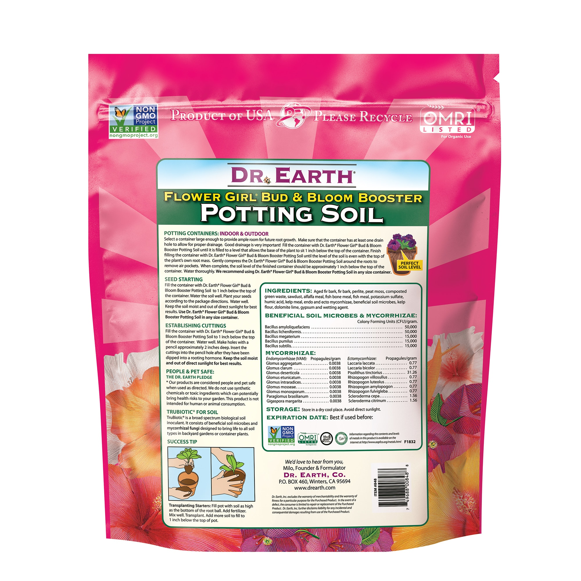 Flower Girl Bud & Bloom Booster Potting Soil Back information