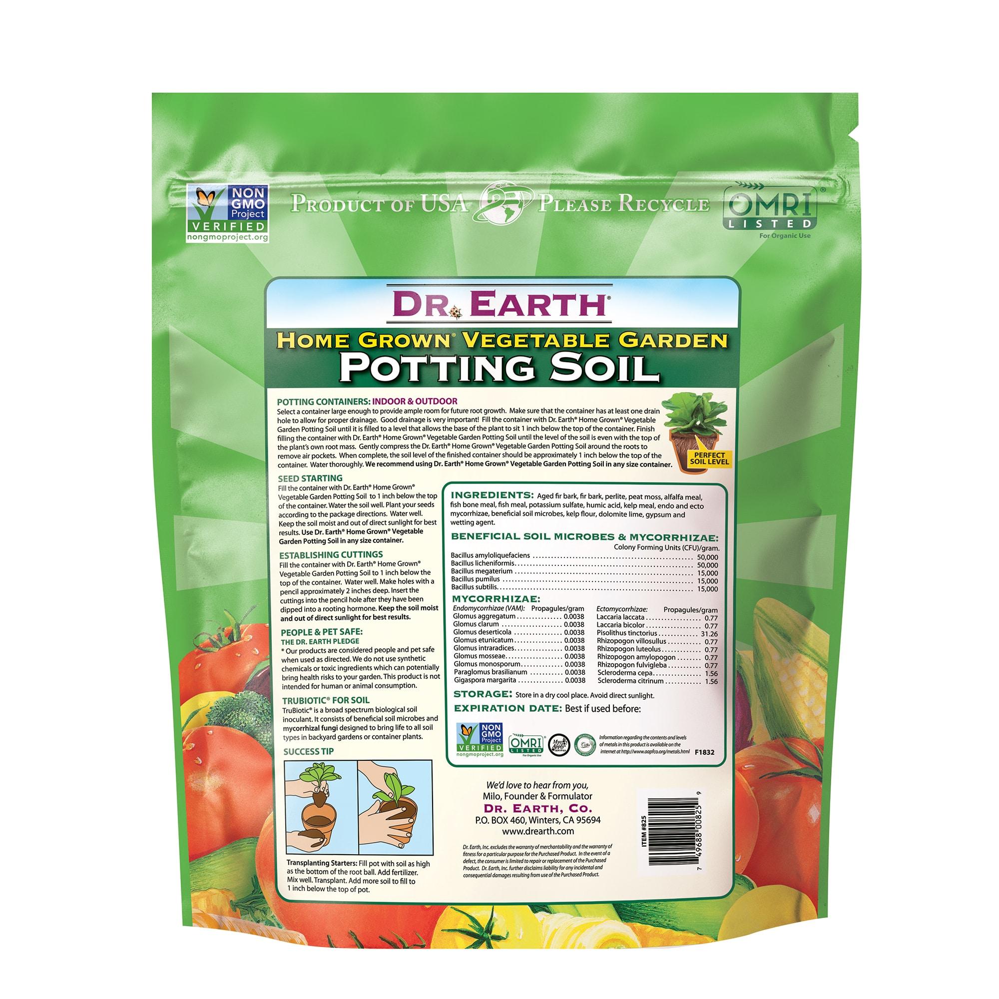 Home Grown Vegetable Garden Potting Soil Back Information